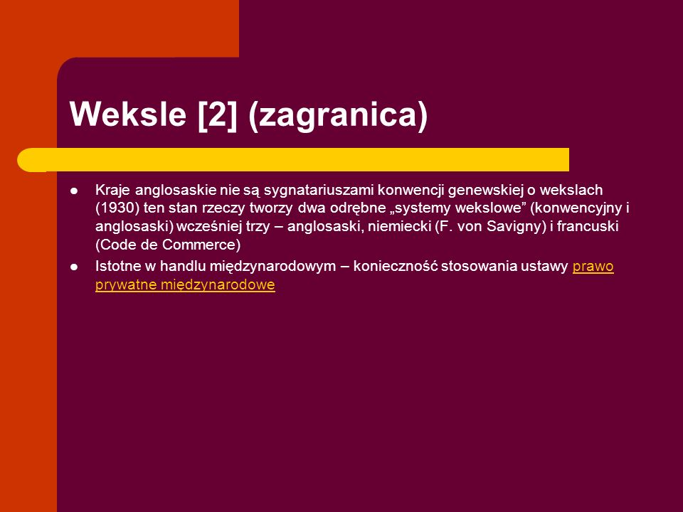 Weksle [2] (zagranica)